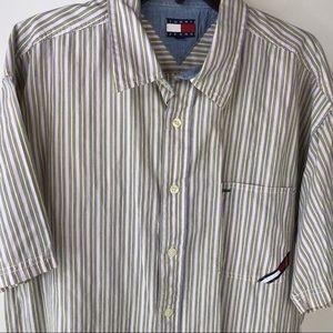 Vtg 90's Tommy Jeans Hilfiger Pink Stripe Shirt